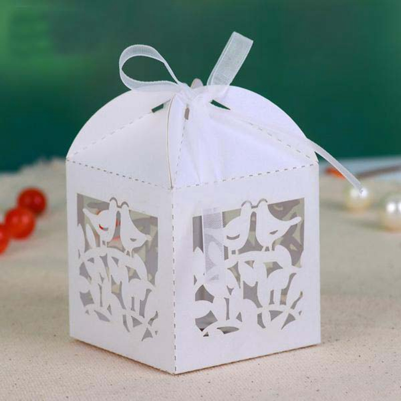 Wedding Favor Boxes For Chocolates : Wedding Party Favors Laser Die Cut Candy Chocolate Boxes Bird Cages ...