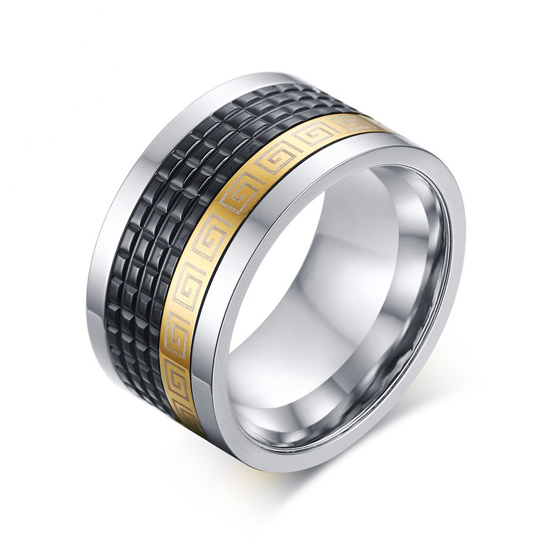 2016 New Arrival Stainless Steel Men Spinner Ring Jewelry Brand Designer Ceramic Black Ring 4 Sizes(China (Mainland))