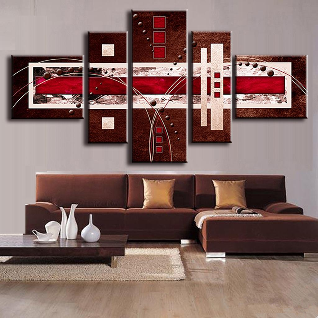 5 Pcs/Set Combined Modern Abstract Oil Painting Brown Red Cream Canvas Wall Art Picture Unframed Canvas Painting,(China (Mainland))