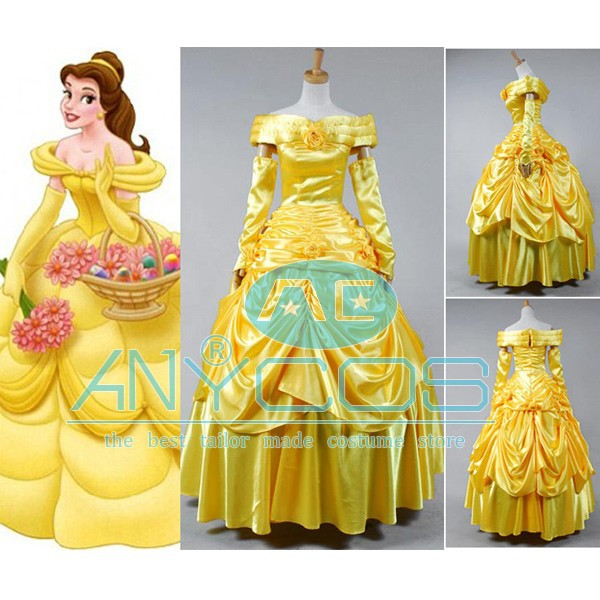 Beauty and the Beast Princess Belle Yellow Evening Gown Women Dress Gloves Movie Cosplay Costume Holloween Pary Free ShippingОдежда и ак�е��уары<br><br><br>Aliexpress