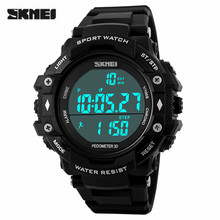 Skmei Sports Watch Men's Waterproof Digital 3D Pedometer Alarm Wristwatches Outdoor Military Swimming LED Quality Watches(China (Mainland))