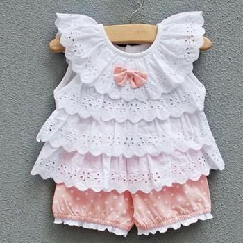 2015 New Arrival Sweet Baby Kid Girl 2pcs Outfit Clothes Ruffled T-shirt Tops + Dot Pant Suit Wholesale