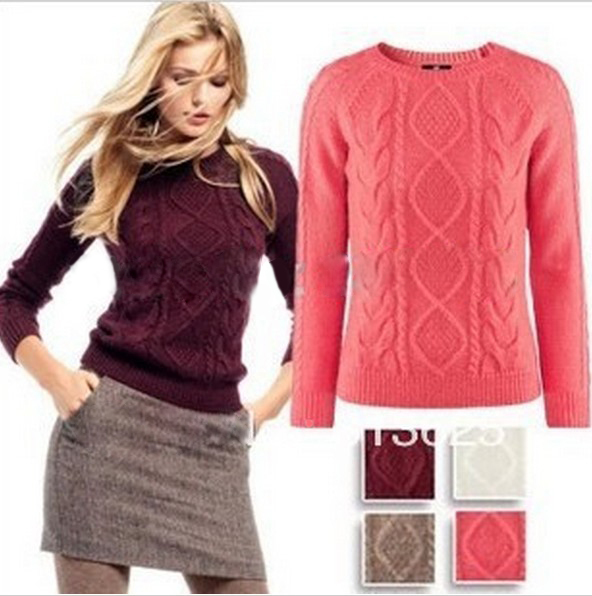 Free Shipping 2013 Hot Sale Women Long Sleeve Pullover Crochet Hollow Knitwear O neck Jacquard Sweater