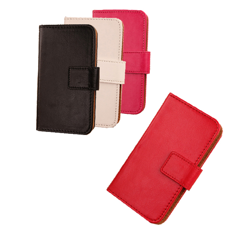 Luxury Wallet Design Cell Phone Holster Soft PU Leather Cover Case for ARCHOS 50e Helium 5'' Protector Accessories 6 Pure Colors(China (Mainland))