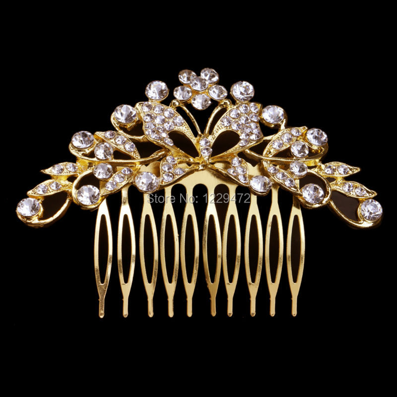 Gold Plated Butterfly Flower Design Wedding Tiara Bridal Hair Combs Hairpins Shiny Crystal Women Engagement Hair Accessories(China (Mainland))