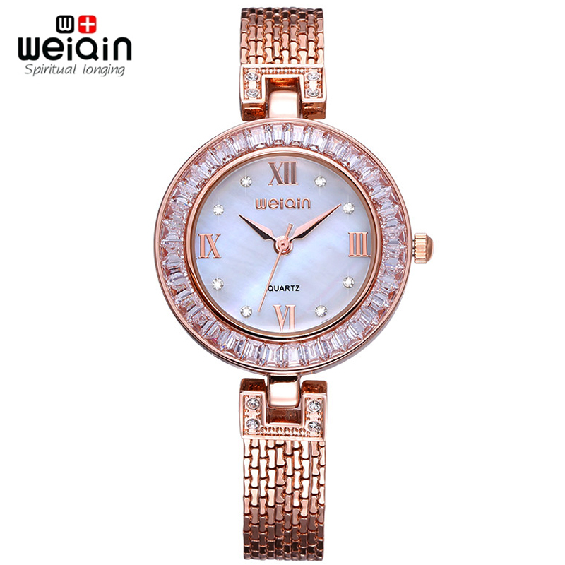 Weiqin Tag Colorful Shell Dial Crystal Rhinestone Women's Dress Watches Luxury Brand Fashion Rose Gold Watch Relogio Feminino - JIANGYUYAN store
