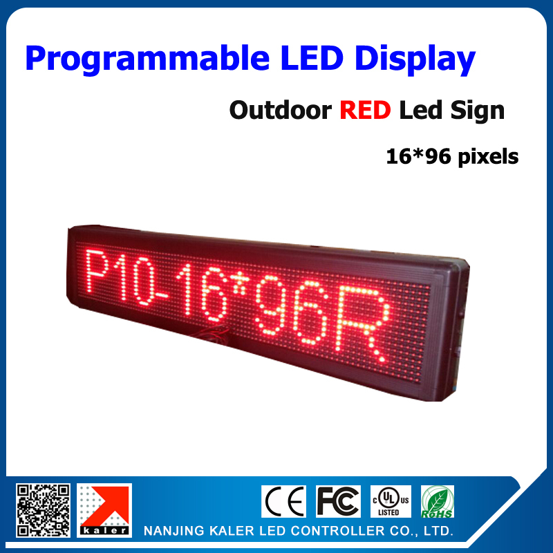 Outdoor advertise led screen display change English language P10 led display panel 16*96 dots outdoor led sign board(China (Mainland))
