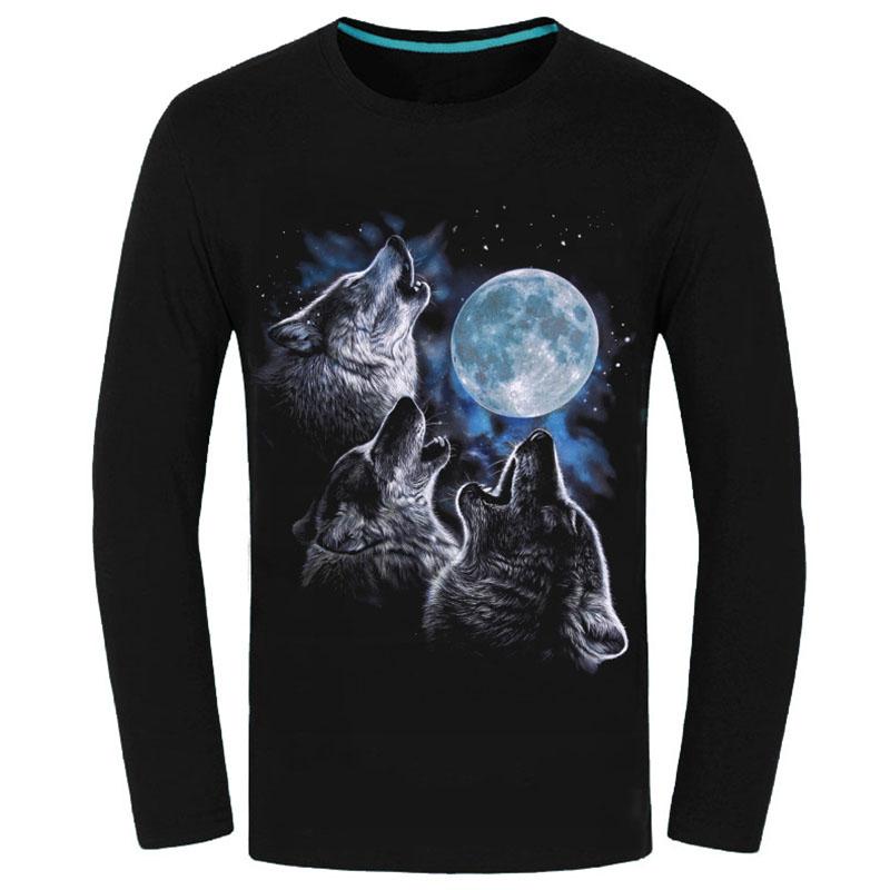 2016 New Arrival Night-luminous Product Mens Full Sleeve Cotton Tshirt 3D Wolf Print Tee Shirt Vetement Homme Brand Clothing(China (Mainland))