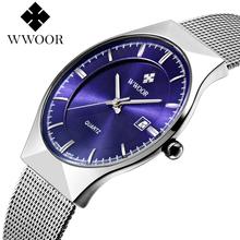 Fashion top luxury brand WWOOR watch men date quartz-watch stainless steel mesh strap ultra thin dial clock relogio masculino K1(China (Mainland))