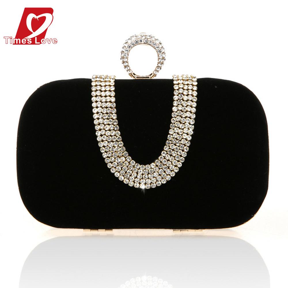 Beilian U design diamonds women evening bags finger ring rhinestones clutch purse handbags velvet evening bag for party XB021(China (Mainland))
