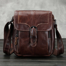 Buy New Men's First layer Cowhide Genuine leather Retro Belt Buckle Cross Body Shoulder Messenger Vintage Business Bag for $35.98 in AliExpress store