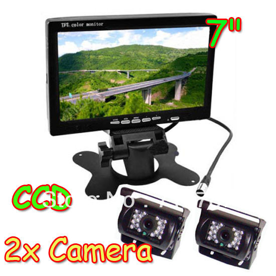 """Waterproof 2x CCD IR Car Reverse Camera with 10M cable + 7"""" LCD Monitor Car Rear View Kit for Bus Long Truck Free Shipping(China (Mainland))"""