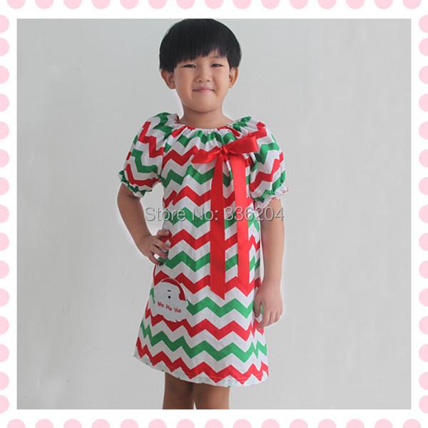 Green Red Christmas chevron dress with Santa Claus,Baby Clothes Chevron Peasant dress,Peasant Girls Christmas Dress(China (Mainland))