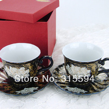 New arrival!! High quality superwhite porcelain 220CC set of 2 Cappuccino cups & saucers for Lovers
