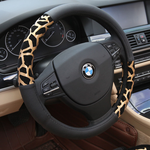 car steering wheel cover plush car cover Leopard print steering steering k4 X3 X1 X6 X5 S80L S60L C70 wheel cover leather car(China (Mainland))
