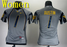 Women Nike West Virginia Mountaineers Geno Smith 12 Grey College Boxing Jersey Tavon Austin 1(China)