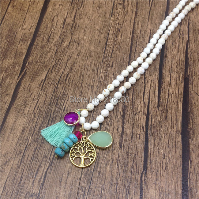 N15060601 Natural Faceted Turquoise Tasse Necklace, Tree Life Charm l Yoga Layering Necklace, Colorful Happy Boho Chic, Trendy(China (Mainland))