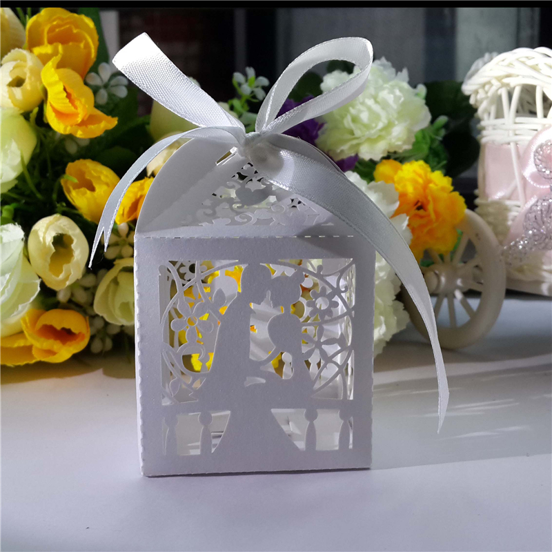 50pcs laser cut bridegroom candy box wedding favors and gifts decoration party sweets gifts favor box with ribbon baby shower(China (Mainland))
