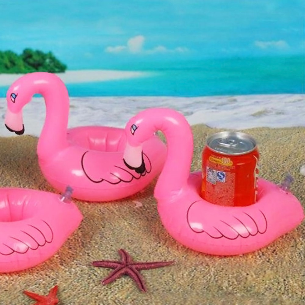 Inflatable Flamingo Drink Can Cell Phone Holder Stand Coasters Float Pool Toy for Kids Fun Swimming Floatation Device(China (Mainland))