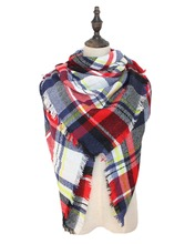 Winter Tartan Plaid Shawl Woman Versatile Gorgeous High Quality Pashmina Wrap Blanket Scarf Lovely Best Gift Famous Brand Za