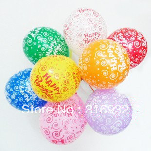M3 Free shipping, 12 inch Happy birthday printed latex balloons, 100pcs/lot