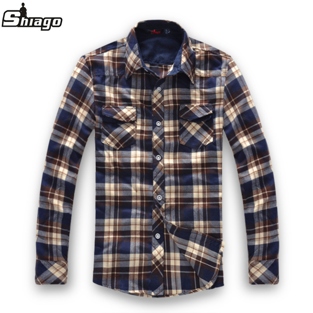 Spring plaid shirt male long-sleeve shirt sanded fashionable casual slim cotton plus size