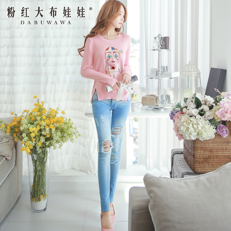 Jeans Girl Pink Doll slim thin foot trousers trousers wear white long trousers ripped denim