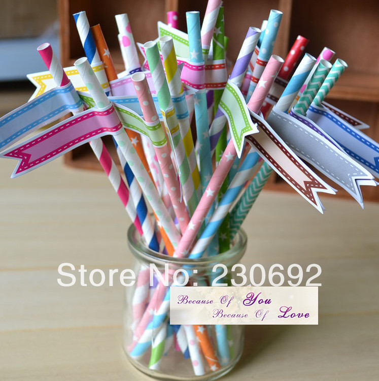 Free shipping 98pcs creative wedding banquet green straw color optional color paper straw colored small label stickers()
