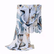 New Fashion Women Lady Winter Classic Butterfly Print Shawls Scarf Scarves Chiffon Soft Long Scarf Size160*45cm No.02132(China (Mainland))