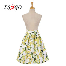 Women Fashion Skirts Summer Lemon Flower Print Pleated High Waist Skirts Female
