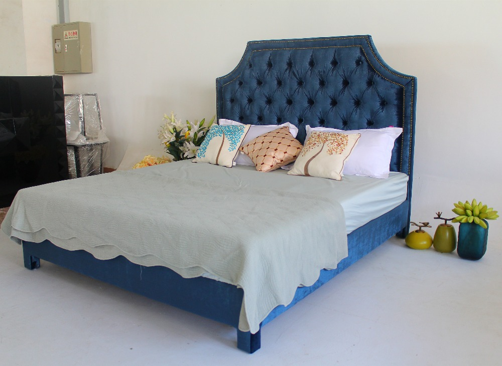 Soft blue king/queen hotel bedroom furniture bed of modern classic style for double<br><br>Aliexpress