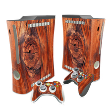 Wood Style Cover For Xbox 360 Fat Console With 2 Controller Sticker For Microsoft 360Fat Skins