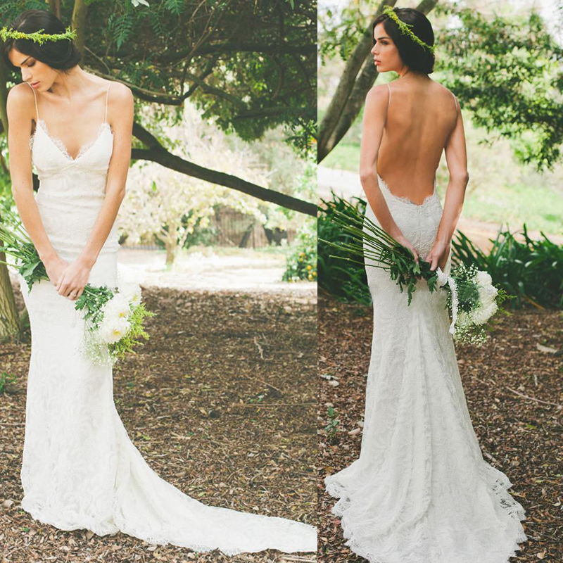 Buy 2016 sexy backless spring wedding for Garden party wedding dress