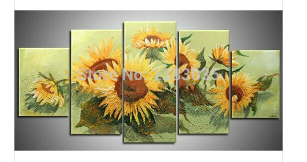 Hand Painted Abstract Picture Of Sunflowers Oil Painting 5 Piece Canvas Wall Art Modern Dining Room Set Decorations(China (Mainland))