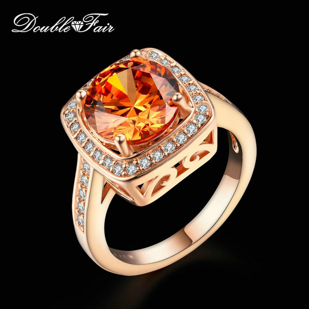 Classic Round Cut Crystal Rings Rose Gold Plated Fashion Imitation Gemstone retro Ring CZ Diamond Jewelry For Women DFR057(China (Mainland))