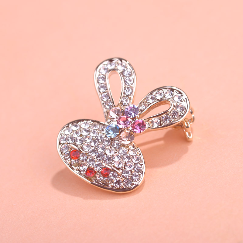 Russian Style Lovely Rabbit Brooches Simple Hat Accessories Crystal Suit Decoration Animal Badge Brooch Bijoux Scarf Pins uk(China (Mainland))