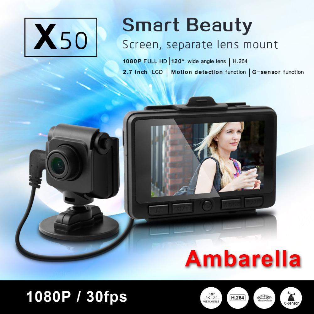 2014 New Separate Lens Car Camera X50 Ambarella DVR 2.7 inch Full HD 1080P 120 degree with G-sensor Vehicle Recorder<br><br>Aliexpress