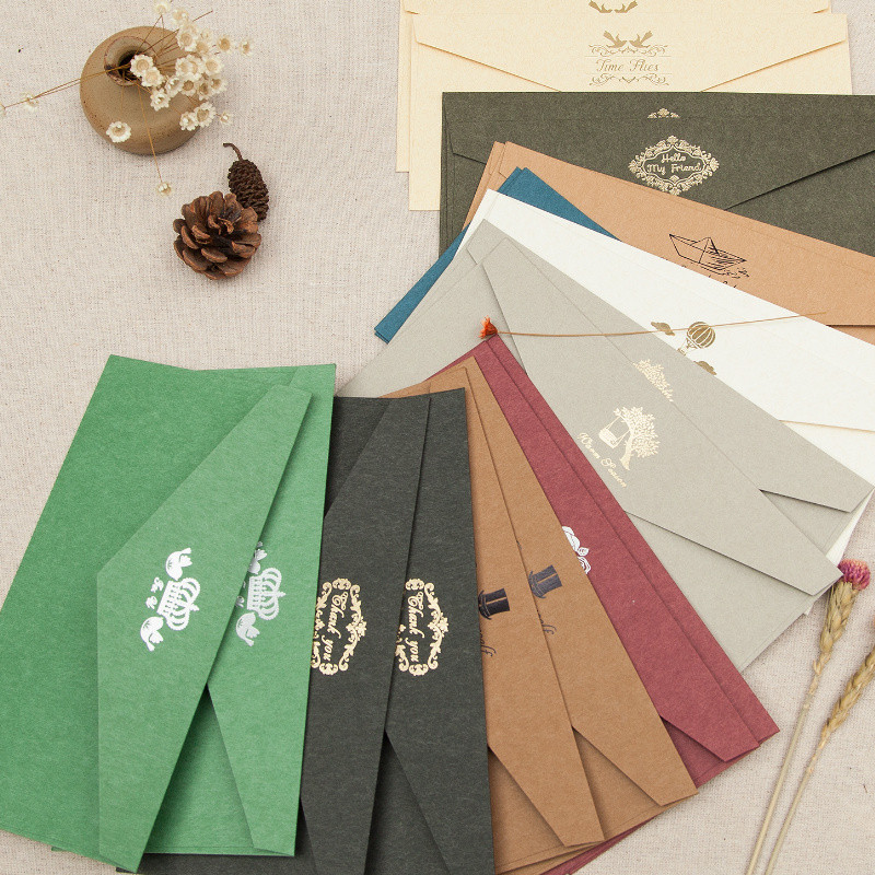 Hot Sale 11*22cm Kraft Paper Envelopes Luxurious Gold Stamping Paper Envelope Wedding Party For Gift Card Pack<br><br>Aliexpress