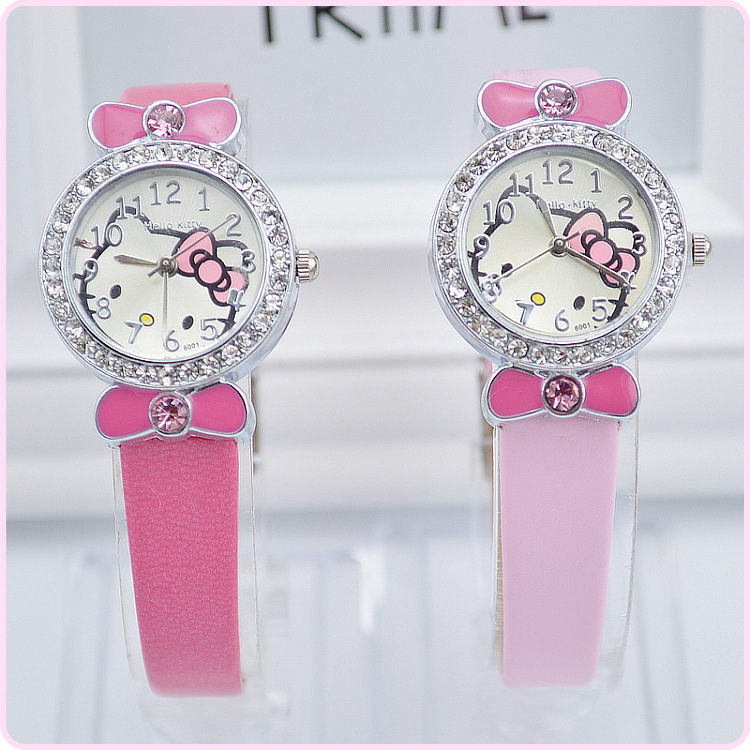 2016 New Arrival Girl Hello Kitty Watch Lovely Children Pink Bowknot Cartoon Watch Kids Crystal Rhinestone Bracelet Hot Sale