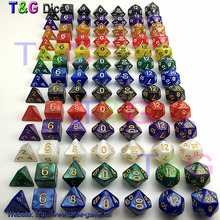 New 7pc/lot dice set High quality Multi-Sided Dice with marble effect d4 d6 d8 d10 d10 d12 d20 DUNGEON and DRAGONS rpg dice game(China (Mainland))