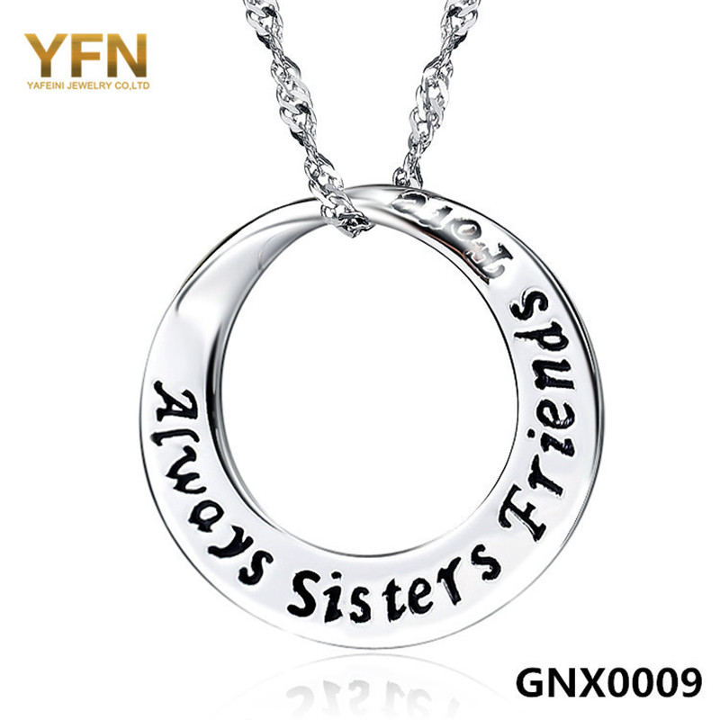 GNX0009 Always Sisters Forever Friends Necklace 2016 Fashion Jewelry 925 Sterling Silver Circle Pendant Necklace For Women(China (Mainland))