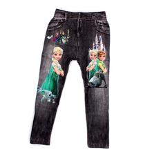 64 CM Anna Elsa Impressão Digital Calças Moda Bebê Menino e Meninas Leggings Para Crianças 5-8 Anos de Idade As Crianças Calças Roupas dos desenhos animados
