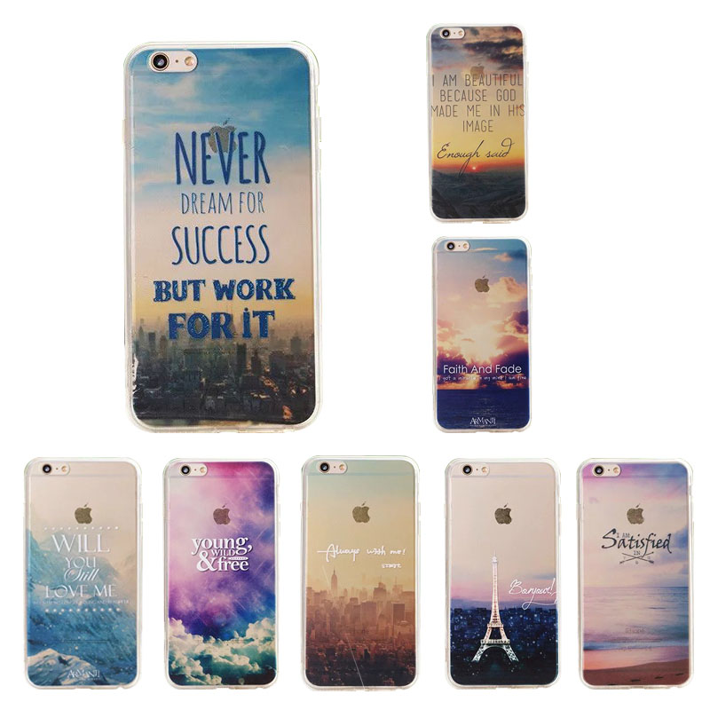 Beautiful City Life Landscape Mountain Ocean Tower Sky Sunset Transparent Soft TPU Crystal Cover Case For iPhone 5 5S 6 6S Plus(China (Mainland))