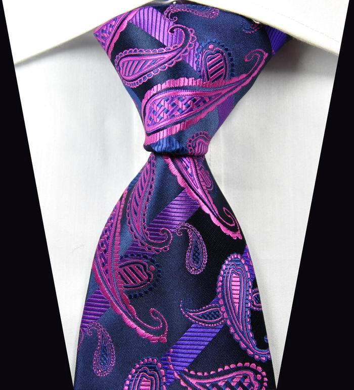 NT0350 Dark Blue Pink Paisley Man s Jacquard Woven Silk Polyester Tie Classic Business Party Wedding