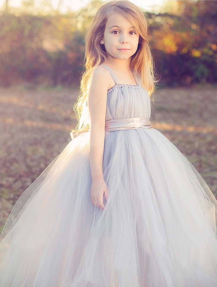 New 2016 tutu tulle gray baby bridesmaid flower girl for Wedding dresses for baby girls