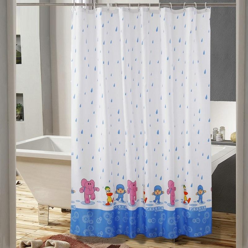 180*180cm Polyester Fabric Modern Elegant Waterproof Shower Curtain Cartoon Litter Rain Mouldproof Mildew Bath Curtains+12Hooks(China (Mainland))