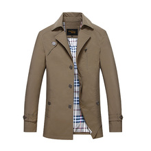 2016 Brand Paniluo Spring and  Autumn England Middle-Aged Men classic turn-down collar high quality Business And Casual Trench(China (Mainland))