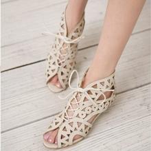 Big Size 31-43 Fashion Cutouts Lace Up Women Sandals Open Toe Low Wedges Bohemian Summer Shoes Beach shoes women AA516(China (Mainland))
