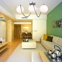 Modern White Glass Shade Semi Flush Mount Light Max 120W With 3 Lights Chrome Finish(China (Mainland))