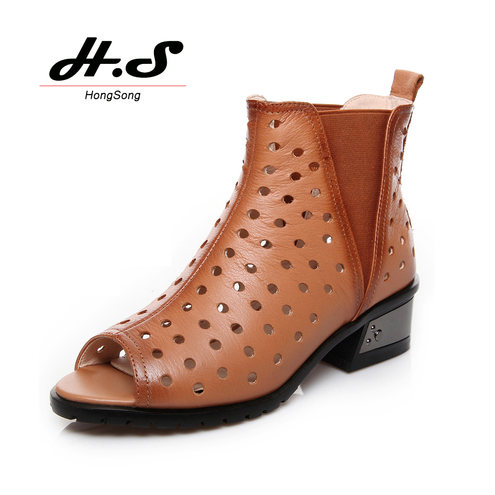genuine leather air elastic fabric summer boots